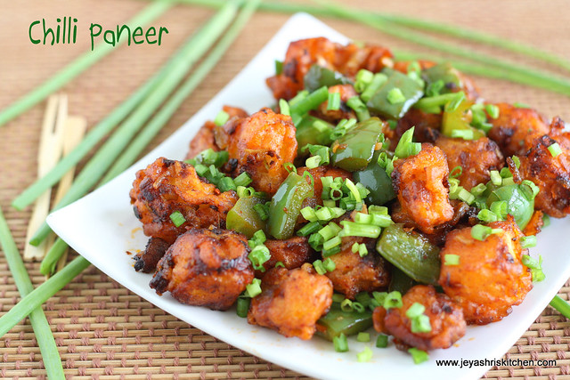 how to make jain dry paneer chilli