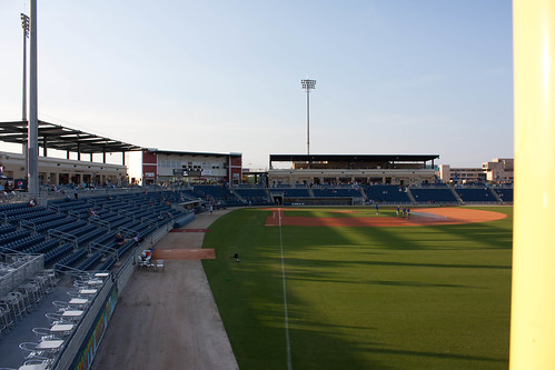 Looking down the right field line at Pensacola Bayfront Stadium