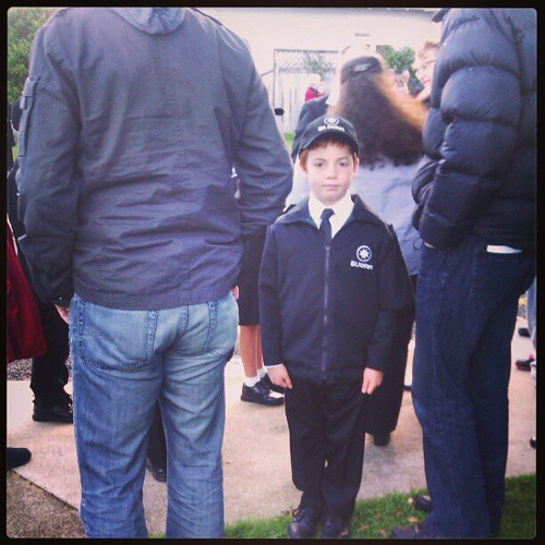 Getting ready for his first ANZAC day parade.