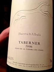 Taberner 2006 de Huerta de Albalá (vino de la tierra de Cádiz) - Restaurante Mina - Bilbao