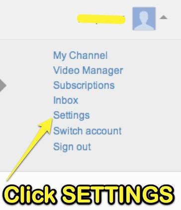 YouTube - Click SETTINGS