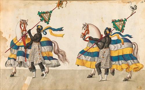012- Cabalgata sobre los continentes-Africa-Descripción de las ocho festividades celebradas durante los juegos…1596-Biblioteca Estatal de Baviera