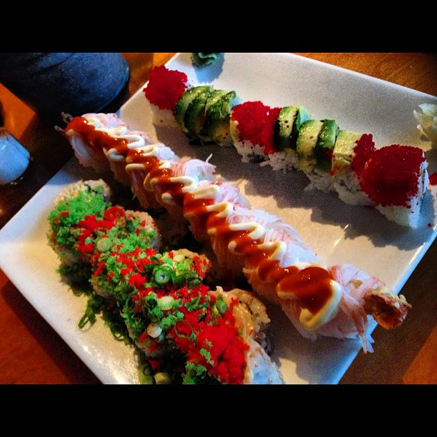 My perfect three! #sushi #rolls #shaggydog #colorado #crunchy #japaneiros #sushi #bistro #latin #grill #effingNOMS