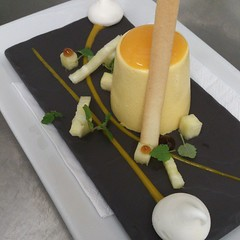 All retro tonight. Mango bavarois, pineapple & lemon balm salad