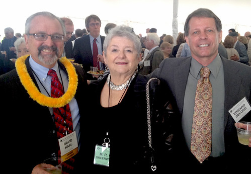 <p>From left, University of Hawaii at Manoa Professor David Karl, University of Hawaii President M.R.C. Greenwood and Massachusetts Institute of Technology Professor Ed DeLong at a National Academy of Sciences awards ceremony reception.</p>