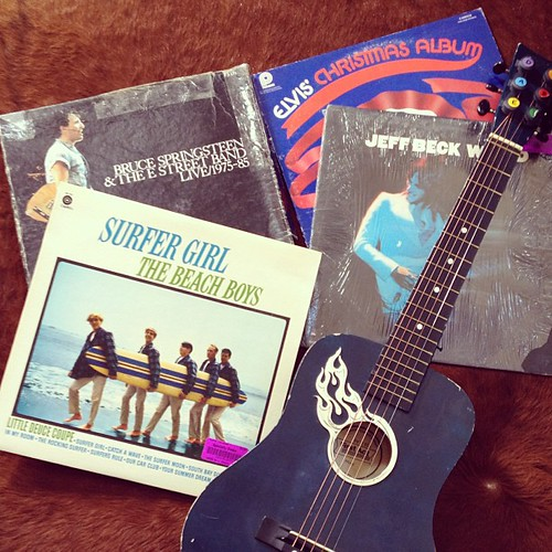 "Found some great #vinyl #records and a cool little guitar at the thrift shop! I couldn't resist the ""Elvis Christmas"" album - that will be fun to drink to in December!"