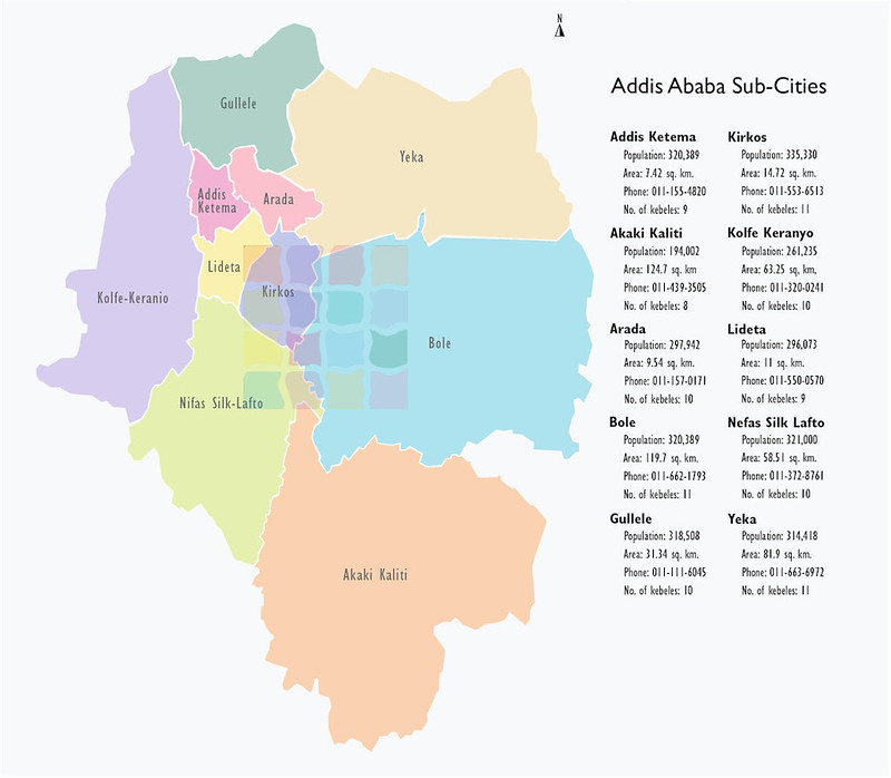 Map of the districts of Addis Ababa