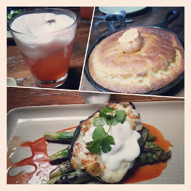 Brunch! Skillet cornbread, stuffed poblano Chile & some egg white fruity drink