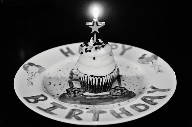candle birthday bw