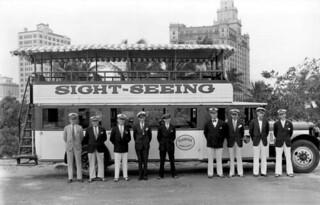 Sightseeing bus and crew: Miami, Florida