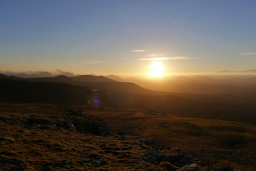 Sun setting beyond Fisherfield
