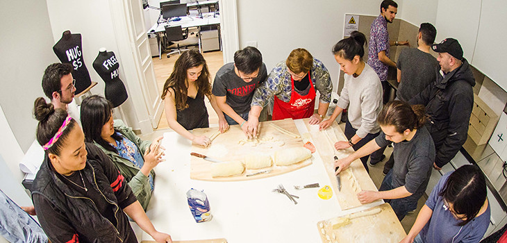 Pasta night with Anna Rita Flati (center, red apron).  photo / Chris Andras (B.Arch. '18)