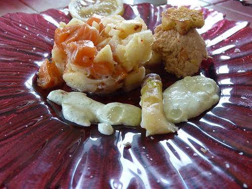 Rillettes de truite et tartare d'asperges et saumon