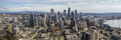 seattle city panorama skyline washington downtown cityscape unitedstates pano aerial explore spaceneedle