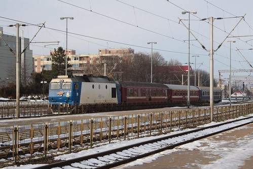 Short passenger train arrives into Brasov