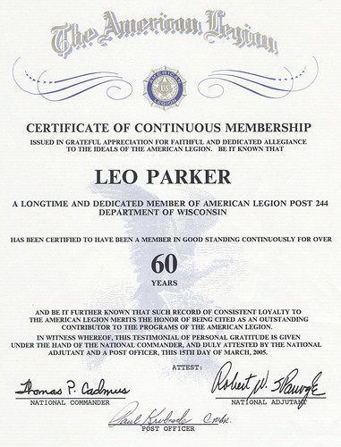 60 year Certificate of Continuous Membership