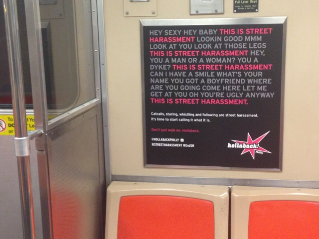 an anti-street harassment ad on public transit in philly
