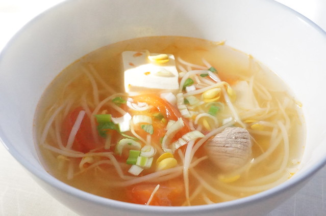 Pork & Tomato with Soy Bean Sprout Soup