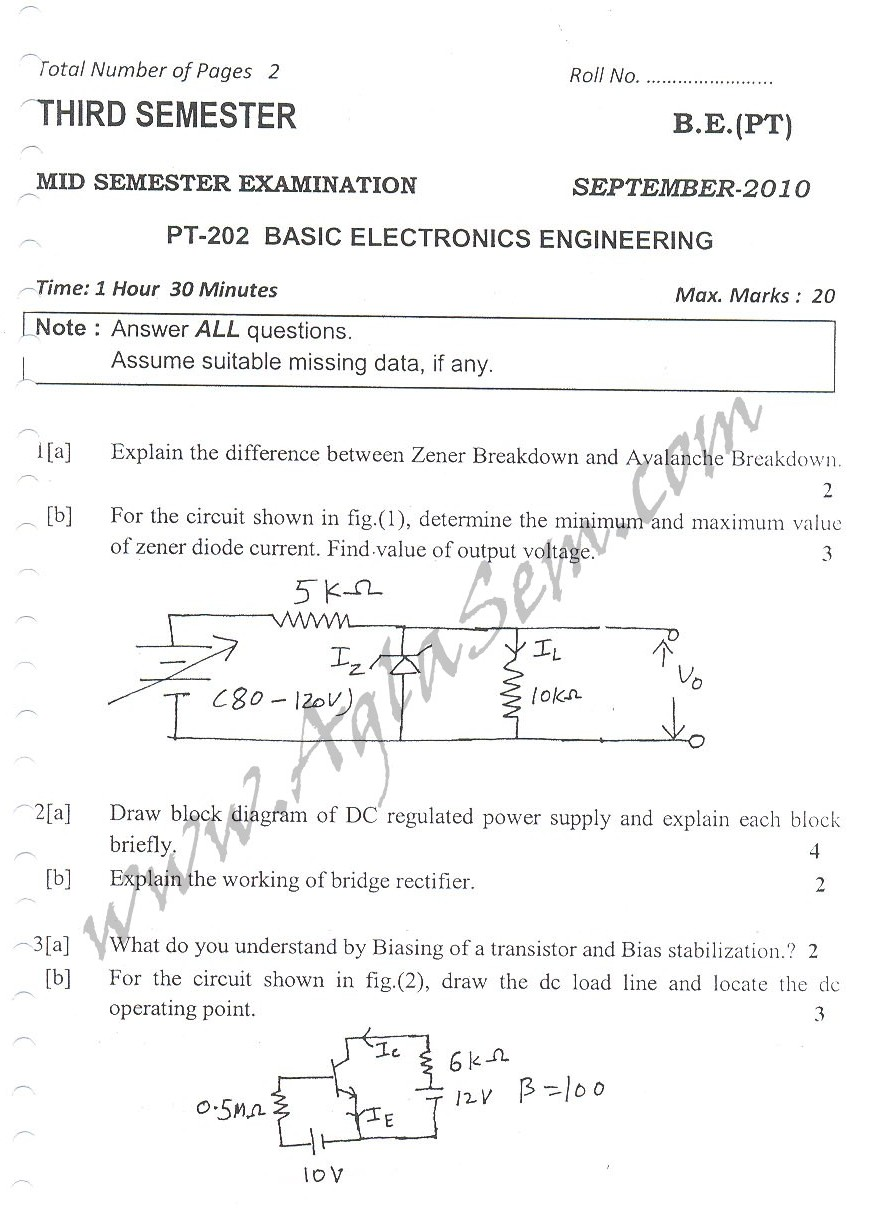 DTU Question Papers 2010 – 3 Semester - Mid Sem - PT-202