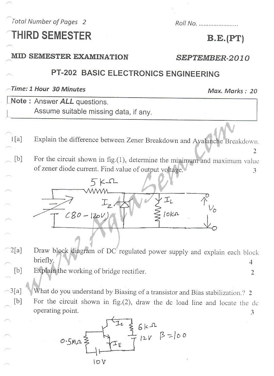 DTU Question Papers 2010 – 3 Semester - Mid Sem - PT-202