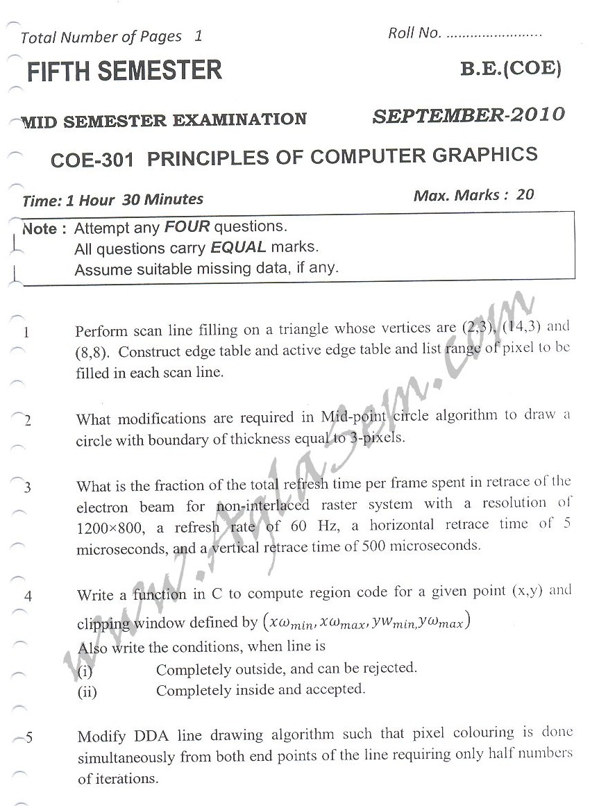 DTU Question Papers 2010 – 5 Semester - Mid Sem - COE-301