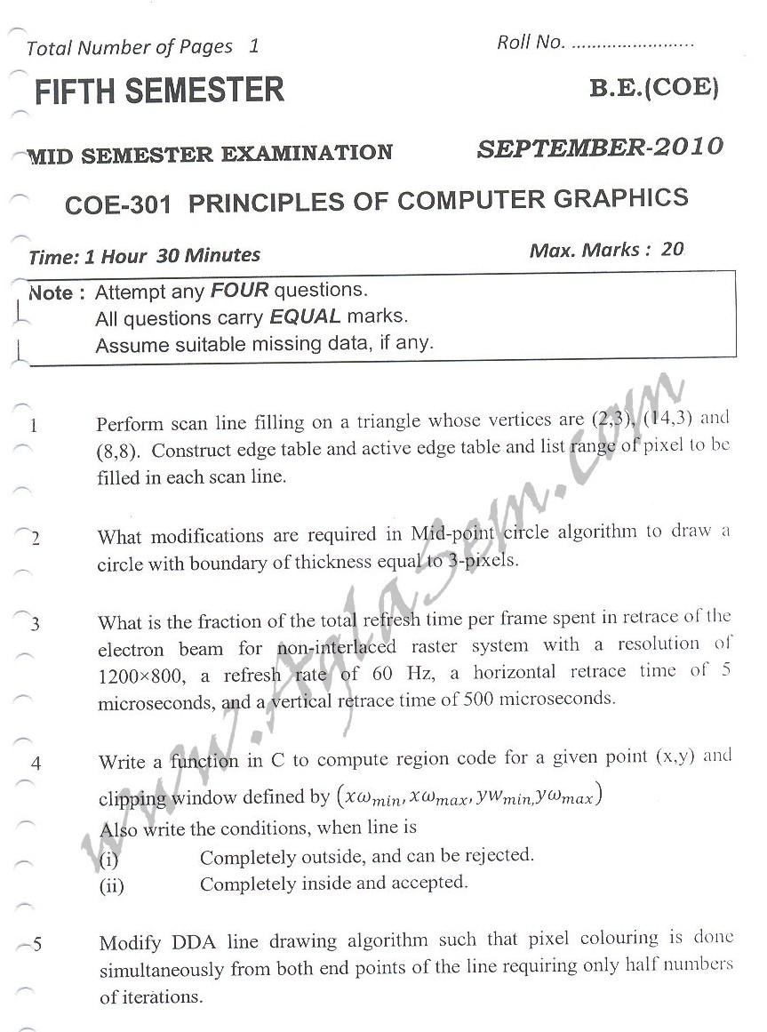 DTU Question Papers 2010 – 5 Semester - Mid Sem - COE-301