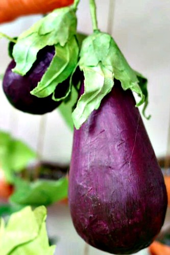 paper mache eggplants on paper plant