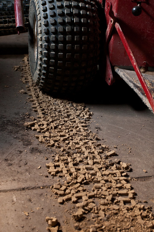 Tire Track in Garage