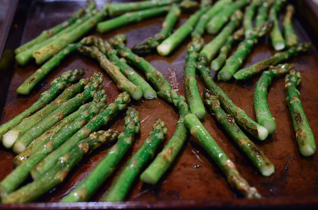 The asparagus after they have finished baking.