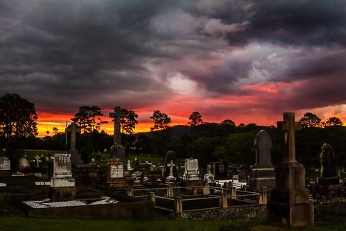 sunset storm cemetery grave graveyard canon post matthew headstone tombstone australia queensland gravestone tamron boneyard gympie 2875mm 60d matthewpost