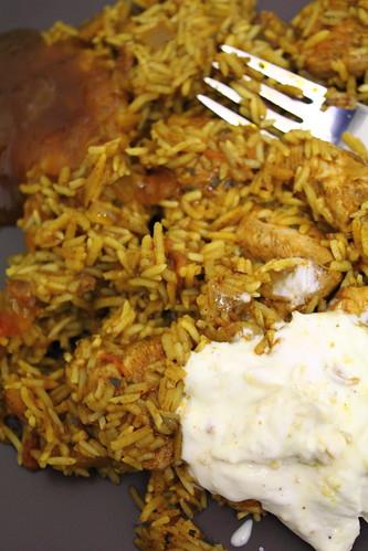 Chicken biryani, mango chutney, raita