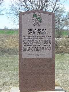 Oklahoma War Chief Historic Marker