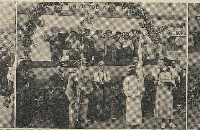 Entrega de bandera al 96 Bón. de la 24º Brigada Mixta, en Belmonte del Tajo, en octubre de 1937