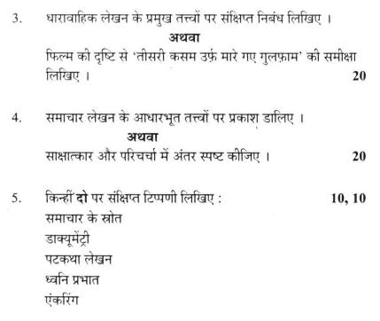 DU SOL B.A. Programme Question Paper -  Hindi Discipline (C) -  Paper XI