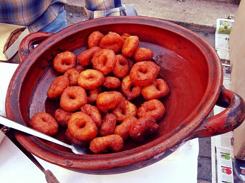 Bunyols for sale at Inca market, Mallorca