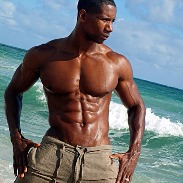beach man on Black muscle