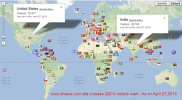 200 K visitors map dnserp site