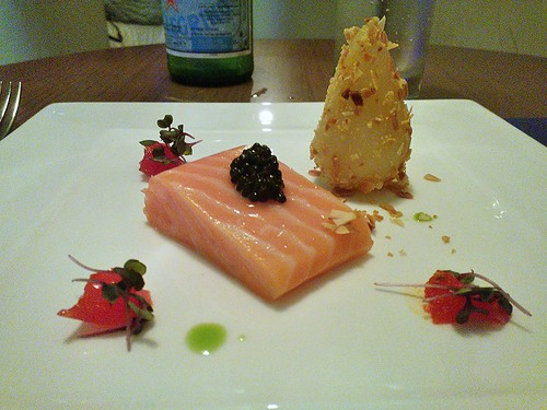 Sous Vide 48°C King Salmon – Sustainable Caviar & Prosecco Pear Crushed Almond, Vine Tomato Jelly and Garden Cress