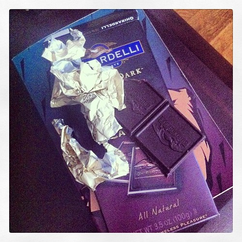 Eating the last of my dark chocolate.  Good thing tomorrow's pay day. #chocolate #foodiemama #darkchocolate #healthyliving #ghiradelli #ilovechocolate