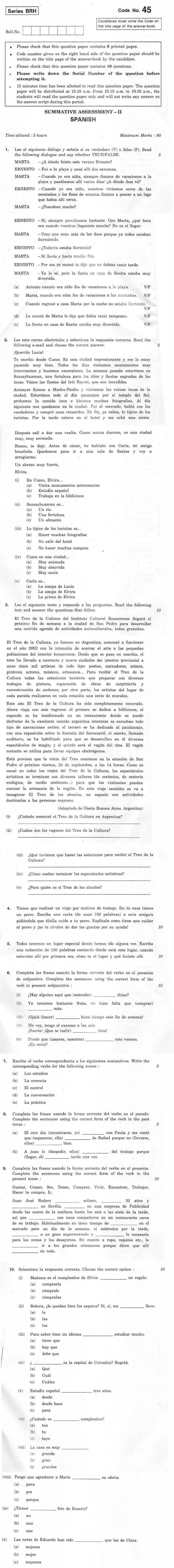 CBSE Class X Previous Year Question Papers 2012 Spanish
