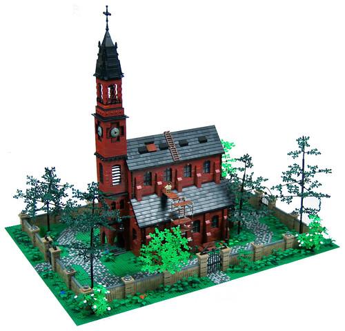 church architecture landscape lego darkred