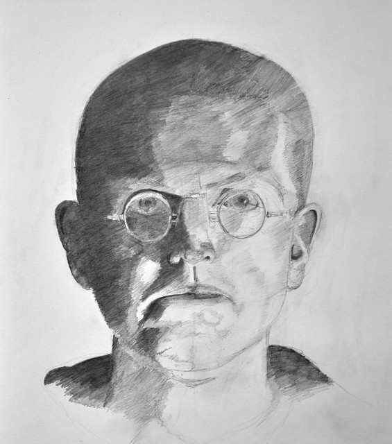 unfinished pencil self portrait