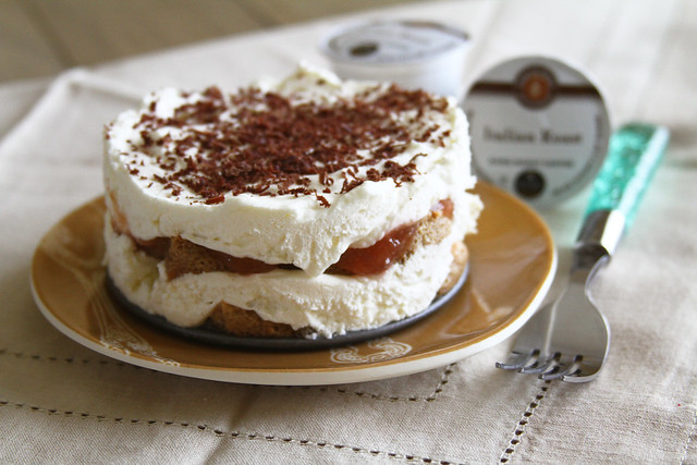 Rhubarb Tiramisu in individual portion