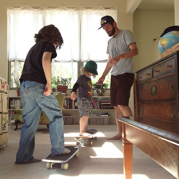 going over the basics #unclecameronishere #noskateboardinginthehouse