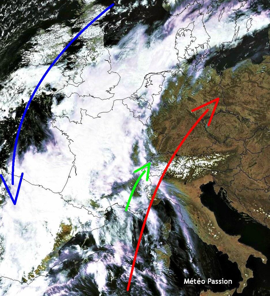 image satellite de l'Europe lors du temps contrasté du 28 avril 2012 à midi météopassion