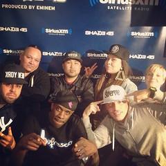 with the SMS Radio crew @shade45: Emilio Sparks, Money Nelz, DJ Thoro, J. Medina, DJ Don Juan, + Jenny Boom Boom