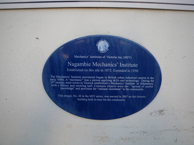 Photo of Nagambie Mechanics' Institute blue plaque