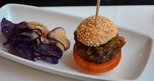 Mini Wagyu Beef Burger with Purple Potato Chips