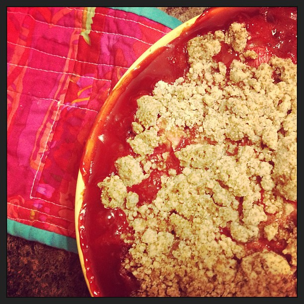 Pro-tip: put a cookie sheet under your cobbler so when it (inevitably) boils over, you don't scorch strawberry juice in your oven. #oops #yum #vegan