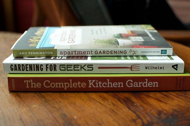 stack of gardening books